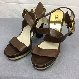 Michael Kors Brown Leather Calder Platform Heels 7